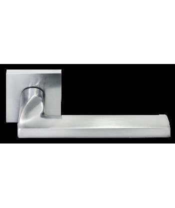 KAFFEE, ручка дверная на квадратной накладке MH-50-S6 W, цвет - белый/черный/никель MORELLI